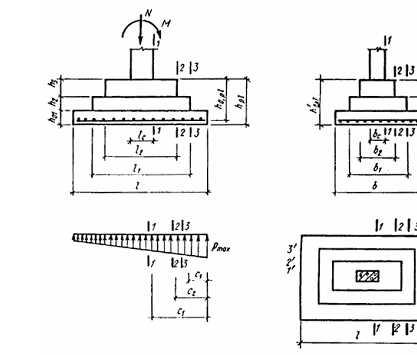 Расчетные схемы и сечения при