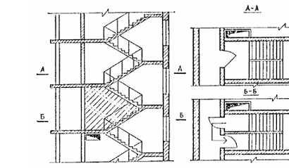 Подпор воздуха в отсеках лестничных клеток обеспечивается путем подачи воздуха от вентиляторов в верхние зоны отсеков.