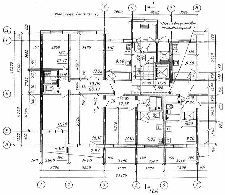 Рис. 2 Пример выполнения плана этажа жилого панельного здания.