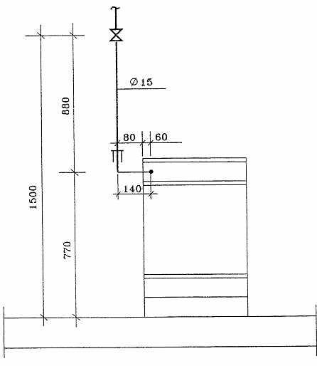 Схема установки газовой плиты.